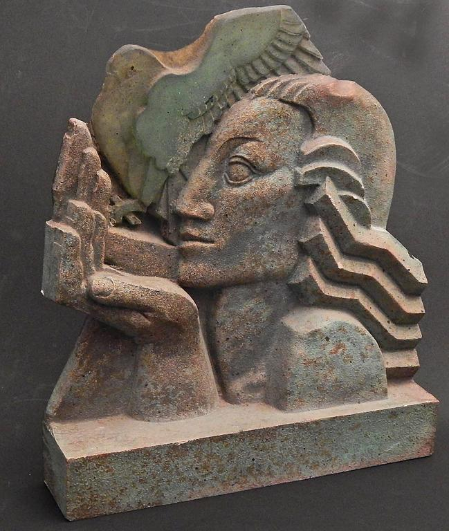 """Woman with Dove"" Stunning Art Deco Sculpture, Terra Cotta and Glass 2"