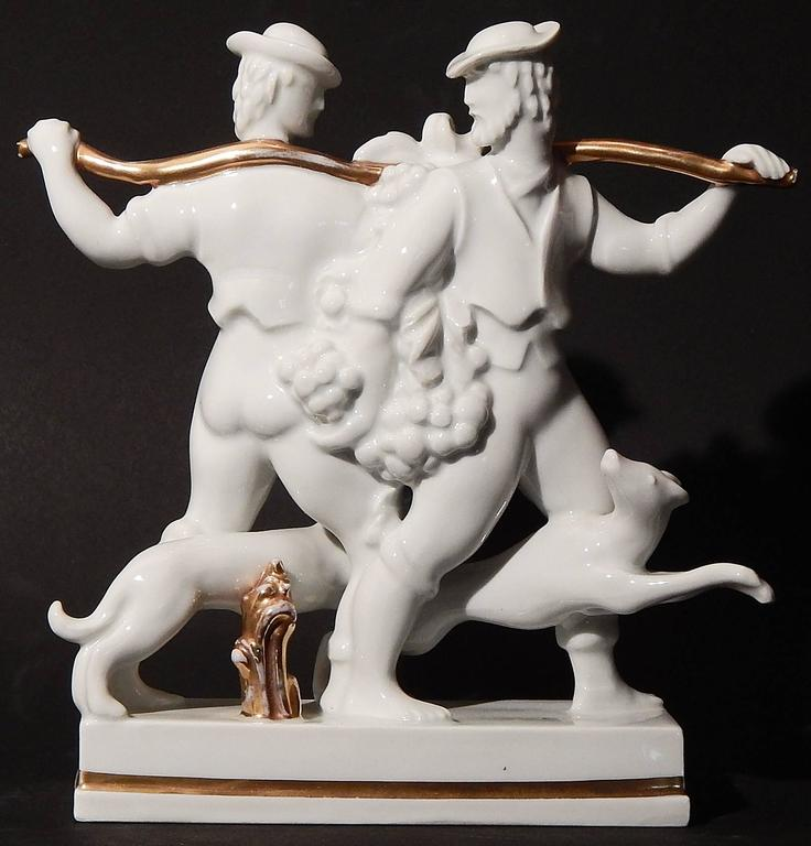 Although Gio Ponti, the protean artist, sculptor and designer, was highly prolific over many years in his native Italy, this porcelain sculpture of two young men carrying an enormous cluster of grapes, with two lively hounds underfoot, is especially