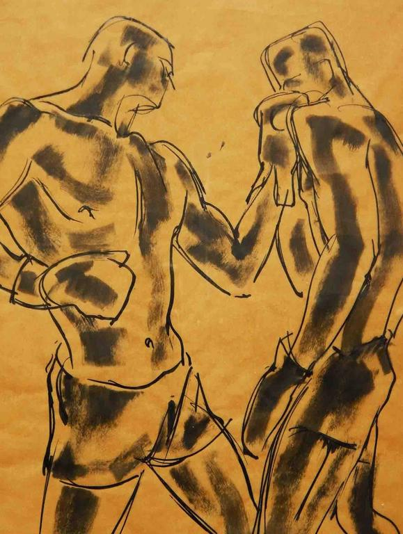 William Littlefield was fascinated by boxers, capturing them again and again in the 1920s and 1930s, issuing a set of prints and producing a series of vivid, arresting drawings. Each drawing shows his ability to economically make use of broad stokes