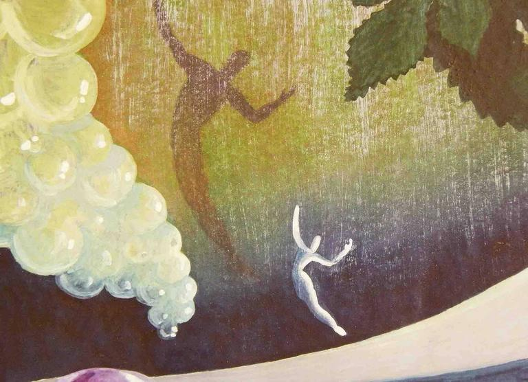 This dance fantasy, depicted a modern dancer in a Moderne world, complete with a saucer-shaped building at the floor of the scene and a Cascade of bubbles rising up, was painted in gouache by one of the greatest figures in American theatre and