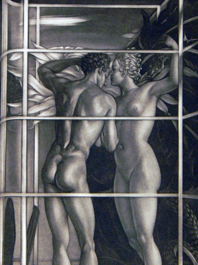 An extraordinary and rare print by Robert Charles Peter, a British artist, this scene of a male and female nude, in a cage-like setting with lush plant forms in the background, seems to suggest that they are standing on the periphery of a giant