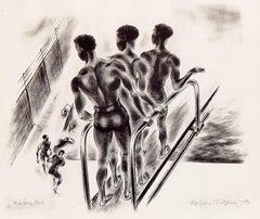 """Harlem Pool,"" Evocative, Depression-Era Art Deco Print by Barbara Morgan"