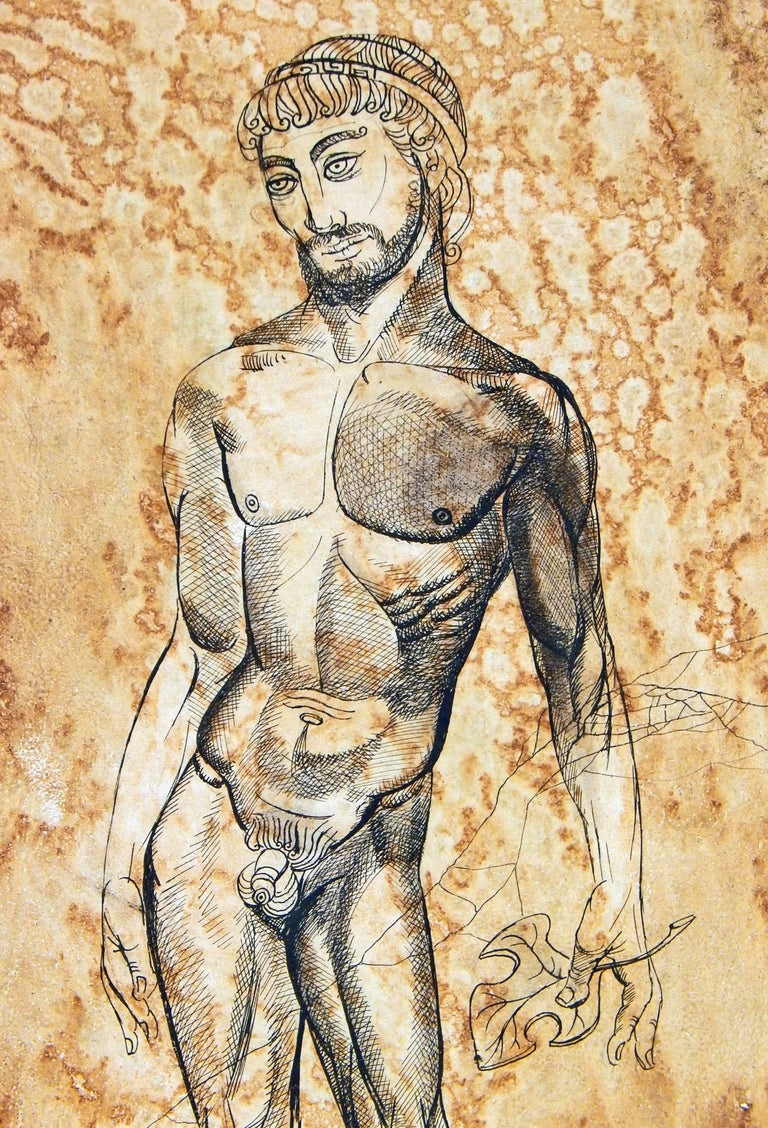 Beautifully painted and with an arresting subject, this piece -- with its male nude subject having removed his own fig leaf -- reveals the sly humor of its painter, Leon Dusso, a major figure in 1940s Hollywood. Dusso was the son of a major art