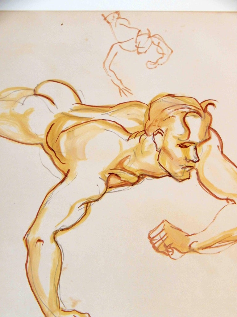 Emlen Etting returned again and again to the theme of Icarus Falling, in part because it gave him an opportunity to depict the nude male in motion. This large drawing served as a study for a painting that followed, and is executed in brilliant,