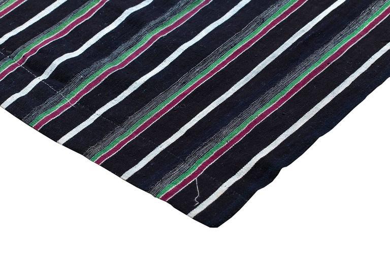 Organic Modern Vintage Indigo Blue Stripe African Cotton Blanket Wrap For Sale