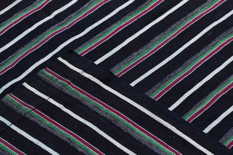 Nigerian Vintage Indigo Blue Stripe African Cotton Blanket Wrap For Sale