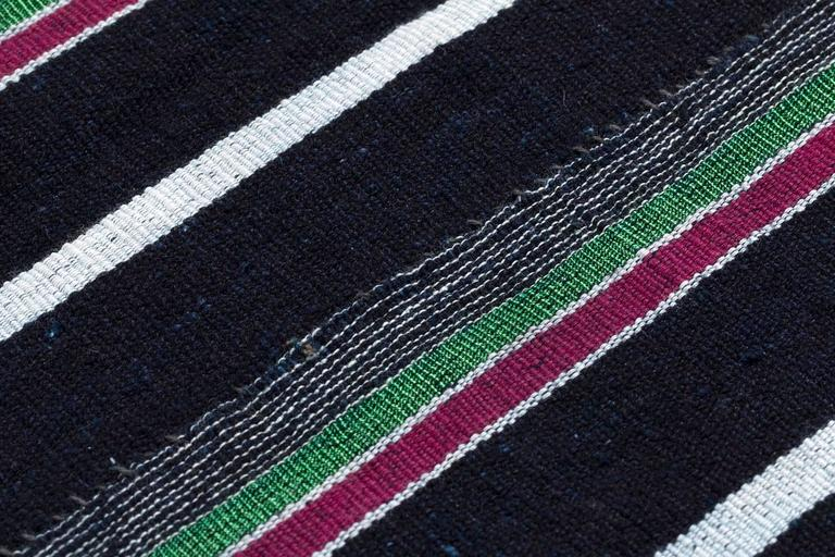 Vintage Indigo Blue Stripe African Cotton Blanket Wrap In Excellent Condition For Sale In New York, NY