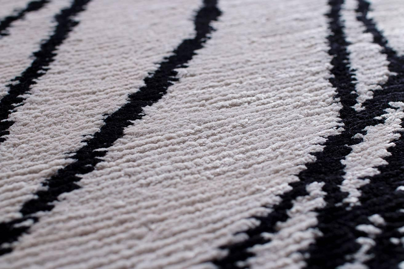 Modern Black And White Spin Oval Rug For Sale At 1stdibs