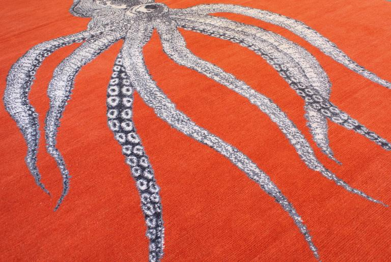 One Of A Kind Modern Octopus Wool Area Rug At 1stdibs