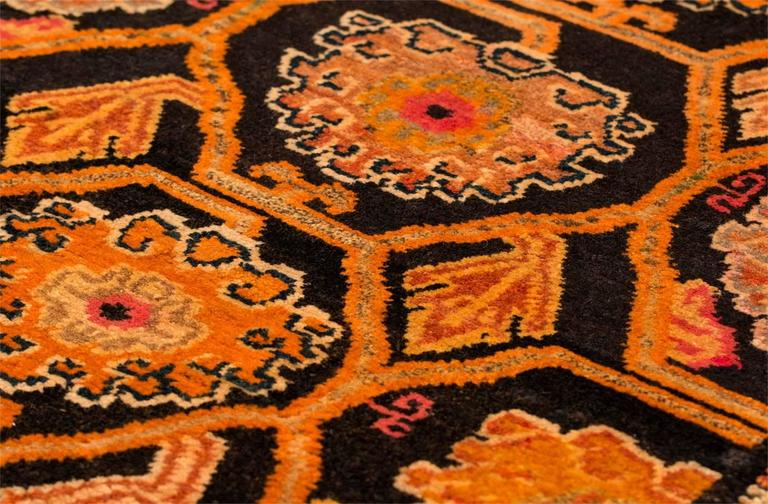Hand-Woven Antique Tibetan Art Deco Rug For Sale