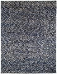 Blue & White Wool Area Rug with Geometric Pattern