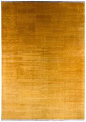 Gold Solid Silk Area Rug With End Panels