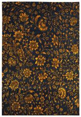 'Italian Flowers', A Black and Gold Floral Area Rug by Joseph Carini
