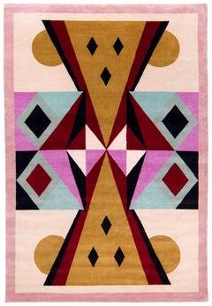 Graphic Silk Rug 'Toto' by Alessandro Mendini