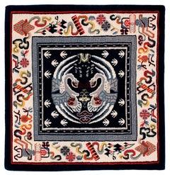 Small Square Tibetan Area Rug/Meditation Mat in Blues