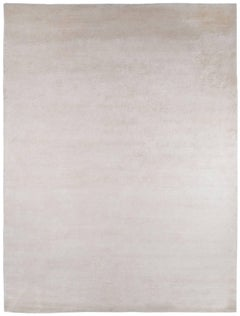 Solid White Silk and Wool Twill Area Rug