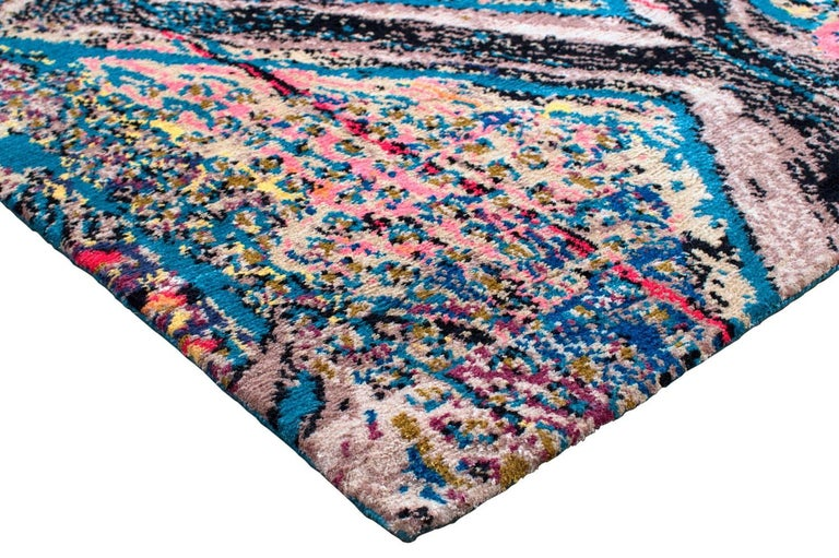 Hand-Knotted Contemporary Area Rug Multicolored Silk and Wool 6x9 For Sale