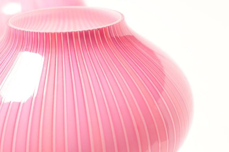Mid-Century Modern Candy Pink 1950s Venini  Lamps by Carlo Scarpa For Sale