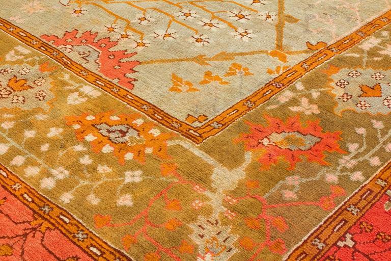 Art Nouveau Early 19th Century Wool Oushak Carpet For Sale