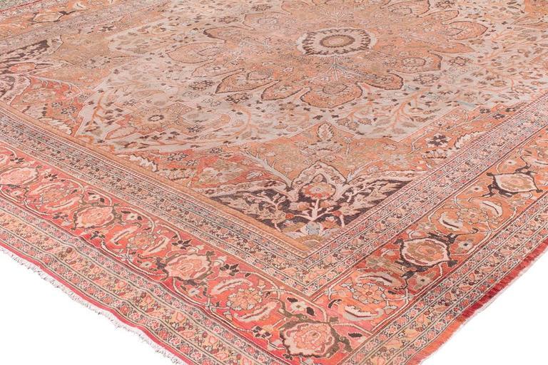 Antique Tabriz Handwoven Wool Rug 2
