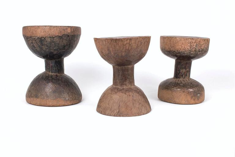 Three Very Old Sculptural Ethiopian Stools 2