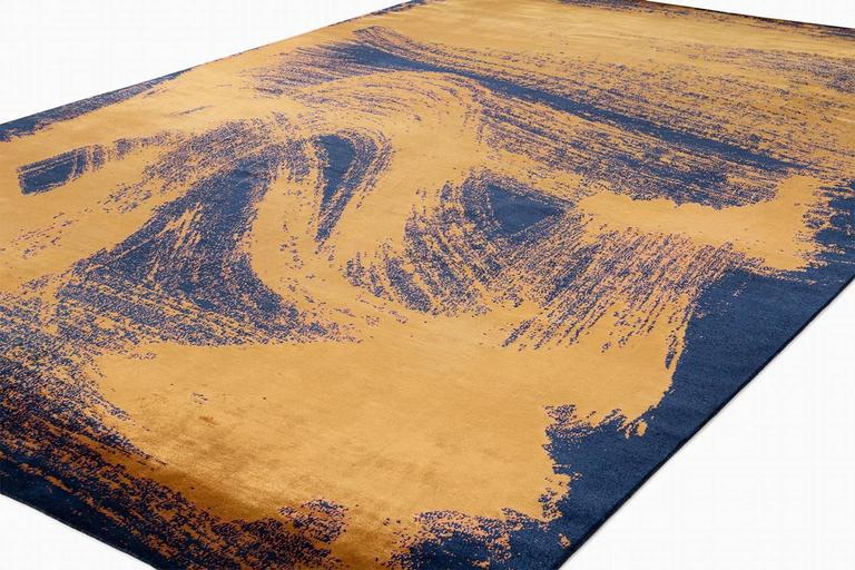 'Chloe', Zen Inspired Contemporary Indigo and Gold Silk Area Rug 2
