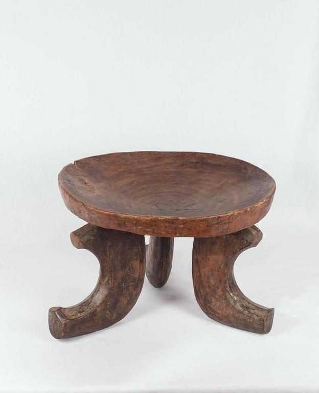 Three Leg Solid Wood Vintage Ethiopian Stool For Sale At