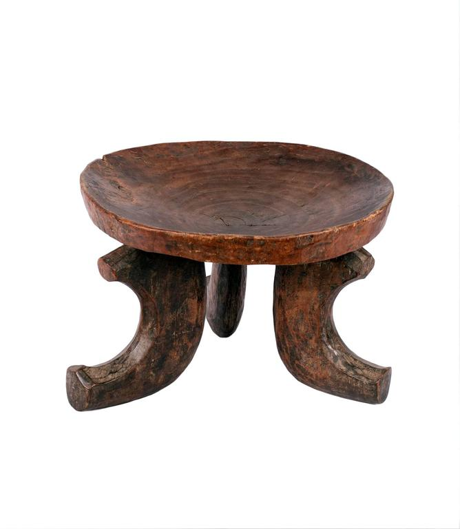 Three Leg Solid Wood Vintage Ethiopian Stool 3