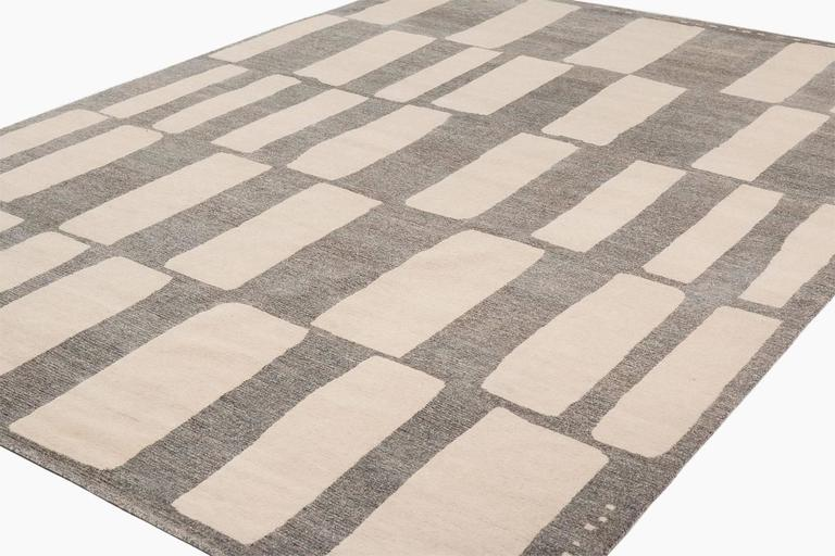 contemporary grey and white cut out 39 coco drum 39 area rug for sale at 1stdibs. Black Bedroom Furniture Sets. Home Design Ideas