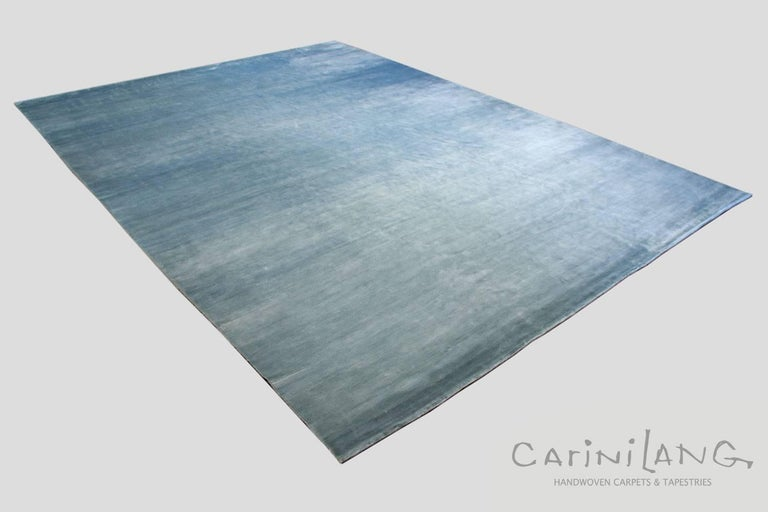Solid Blue Handmade Area Rug Colored With Natural Indigo