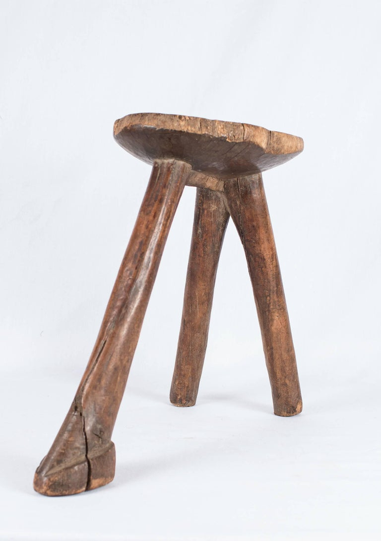 Three Legged Wooden Lobi Stool At 1stdibs