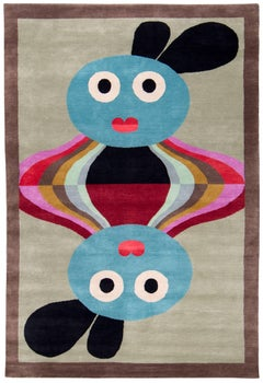 Graphic Silk Rug 'Ghorka' by Alessandro Mendini