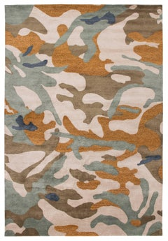 Camouflage Rug Wool with Gold Metallic Thread