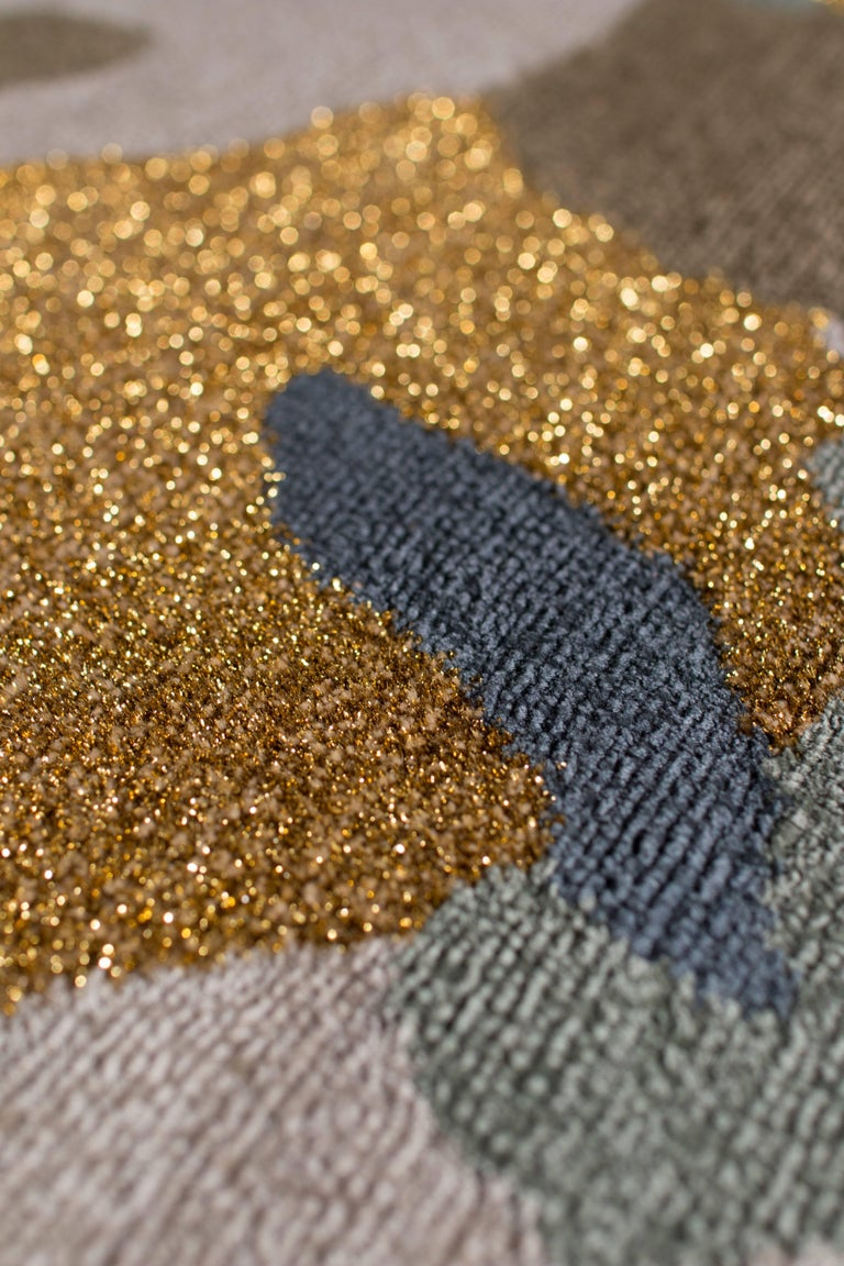 Camouflage Rug Wool With Gold Metallic Thread For Sale At