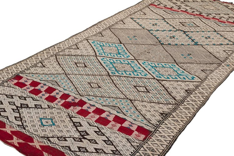 Hand-Knotted Exceptional Vintage Moroccan Kilim For Sale