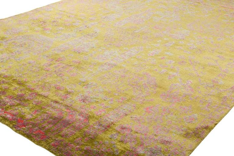 Organic Modern Contemporary Silk Rug By Carini 10x14 For Sale