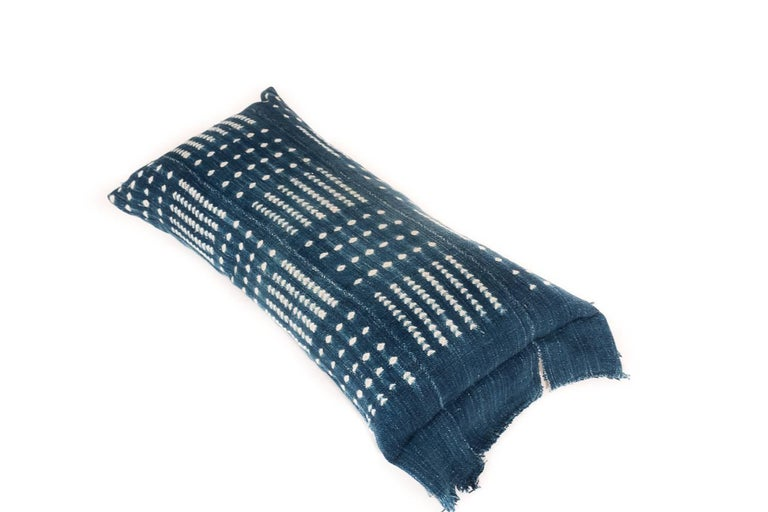 Modern Indigo Dyed African Cotton Pillow/Bohlster For Sale