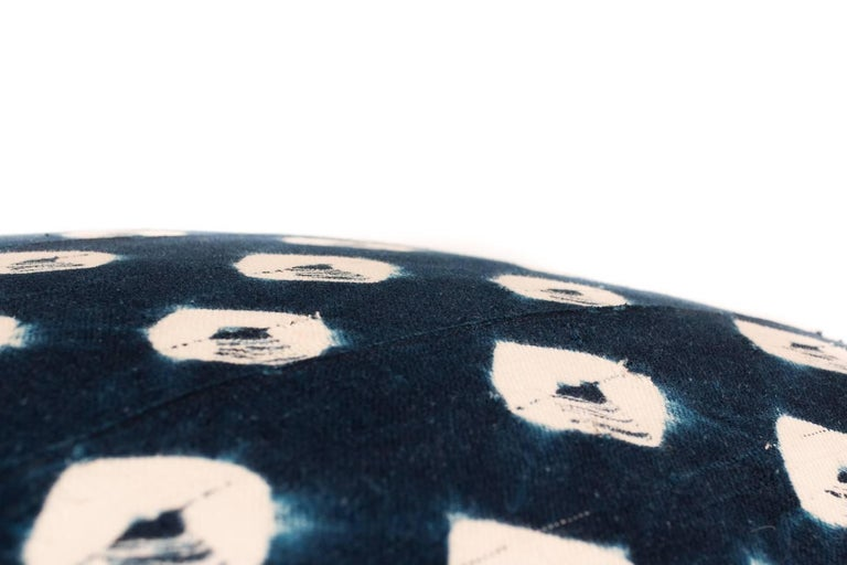 Nepalese Large Pillow Made from Vintage Indigo Textile For Sale