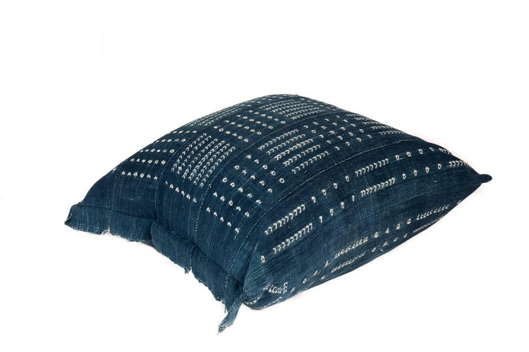 Tribal Large Pillow Made from Vintage African Indigo Textile For Sale