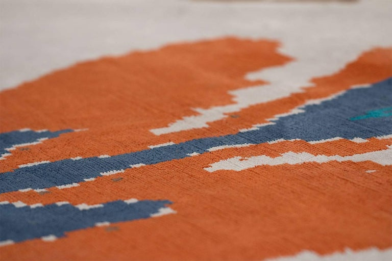 Orange And Blue Silk Ikat Area Rug 6x9 For Sale At 1stdibs