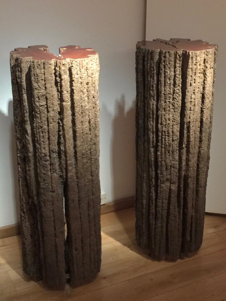 Wood Contemporary Pair of Sculptural Totems by Jerome Abel Seguin For Sale