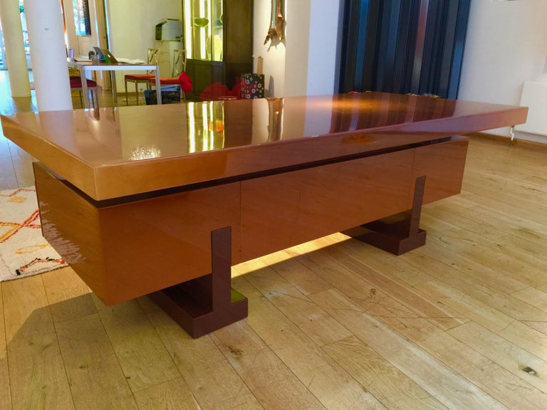 French Lacquer Desk by Pierre Cardin In Excellent Condition For Sale In London, GB