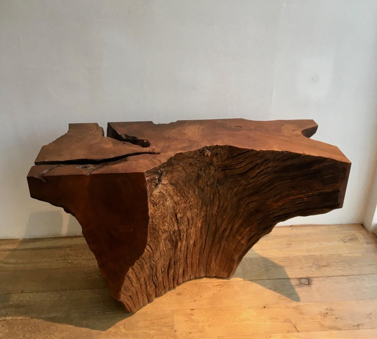 Wood Contemporary Ironwood Console by Jerome Abel Seguin For Sale