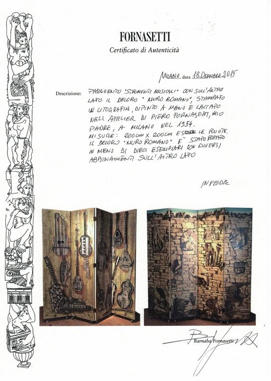 1950s 'Strumenti Musicali' Screen by Piero Fornasetti In Excellent Condition For Sale In London, GB