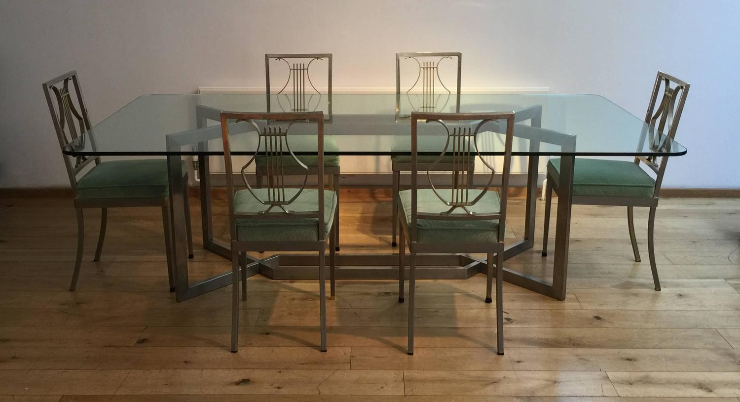 1970s french dining table and set of six chairs for sale On 1970 dining room set