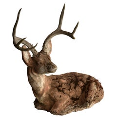 Concrete Deer with Real Antlers