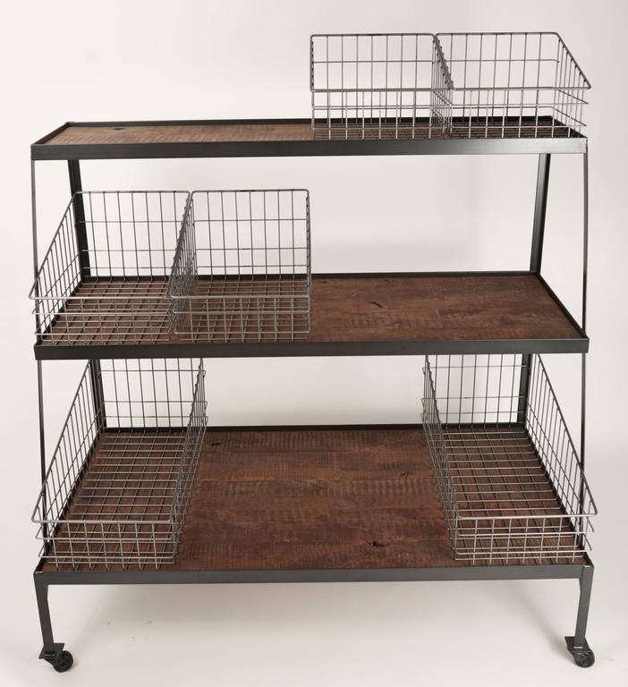 Blackened Basket Merchandiser with Wood Shelves For Sale