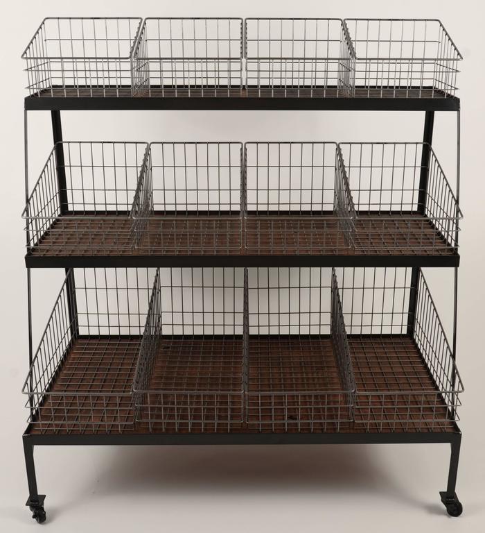 Steel Basket Merchandiser with Wood Shelves For Sale