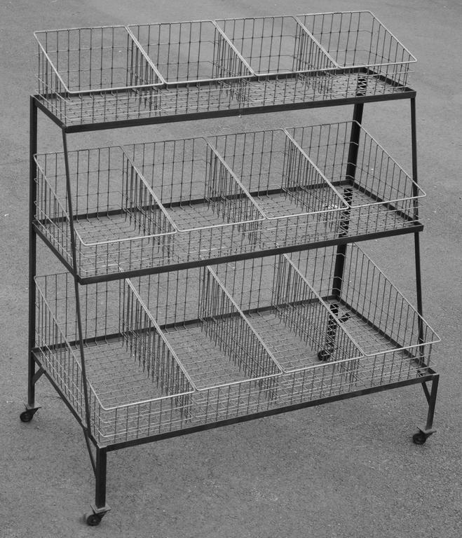 Basket Merchandiser with Wood Shelves For Sale 1