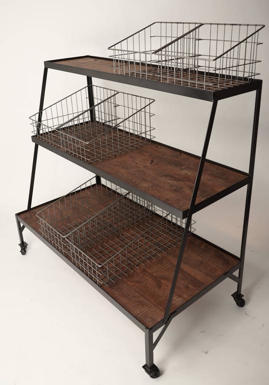 Basket Merchandiser with Wood Shelves For Sale 2